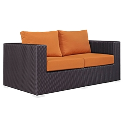Cabo Modern Espresso and Orange Outdoor Loveseat