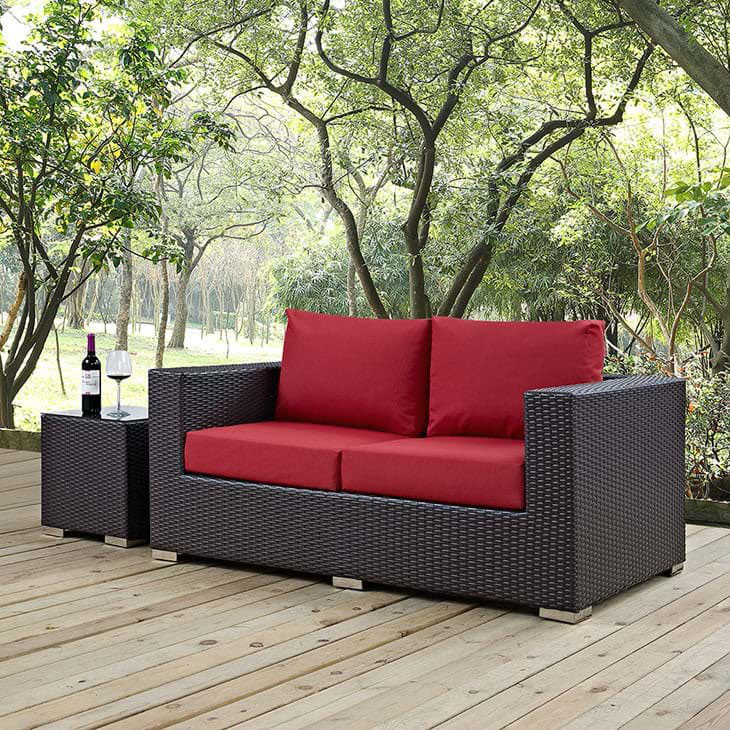 Cabo Contemporary Outdoor Loveseat - Espresso/Red