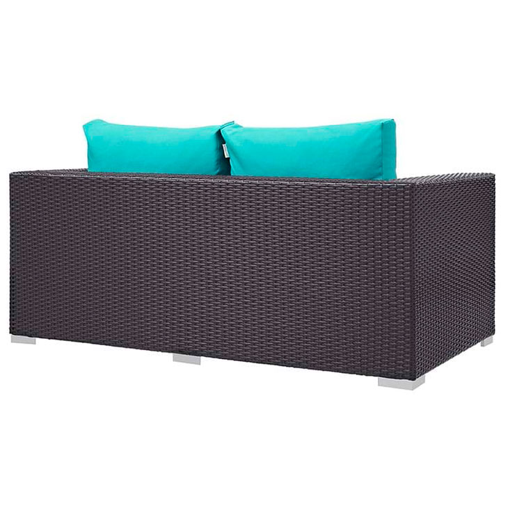 Cabo Modern Espresso and Turquoise Outdoor Loveseat - Back View