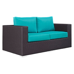 Cabo Modern Espresso and Turquoise Outdoor Loveseat