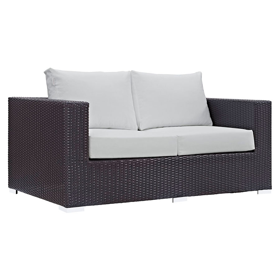 Cabo Modern Espresso and White Outdoor Loveseat