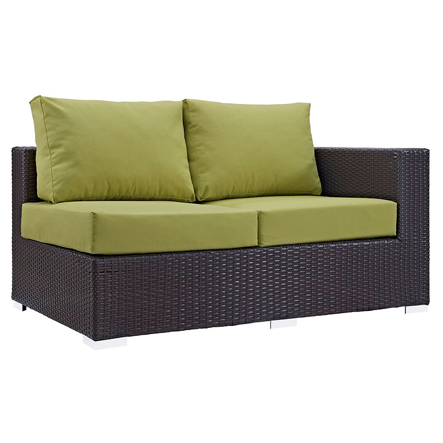 Cabo Modern Outdoor Right Arm Loveseat - Espresso + Green