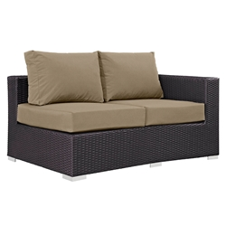 Cabo Modern Outdoor Right Arm Loveseat - Espresso + Mocha
