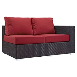 Cabo Modern Outdoor Right Arm Loveseat - Espresso + Red