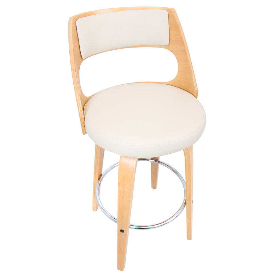 Calhoun Modern Natural + Cream Bar Stool - Top View