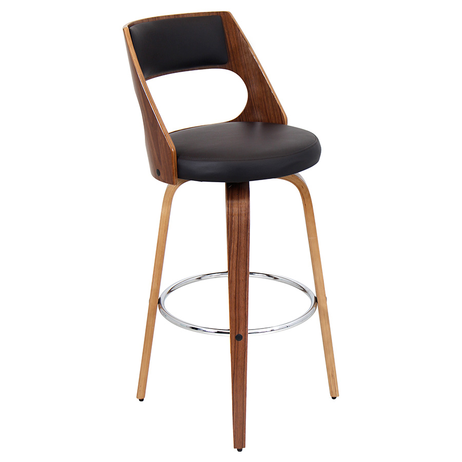 Calhoun Modern Walnut and Brown Bar Stool