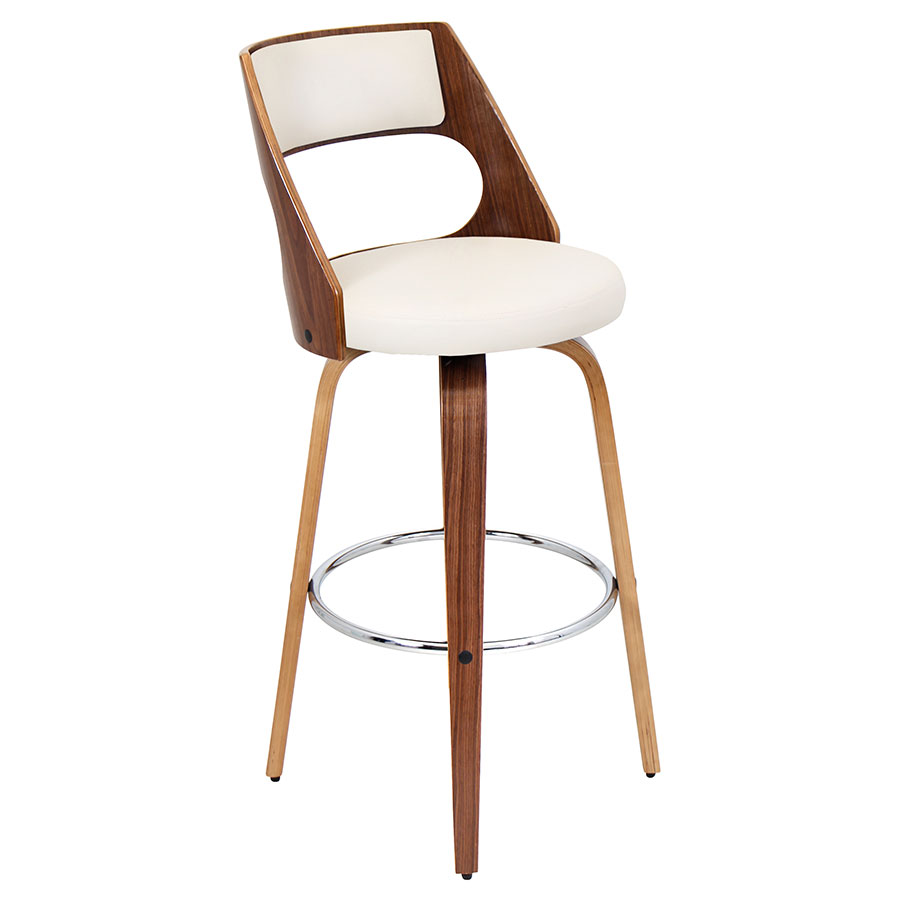 Calhoun Walnut + Cream Modern Bar Stool