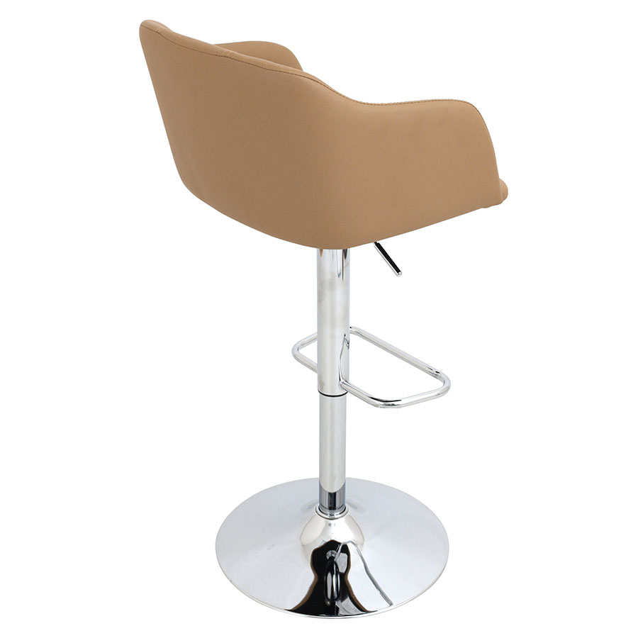 Callum Camel + Chrome Contemporary Adjustable Stool