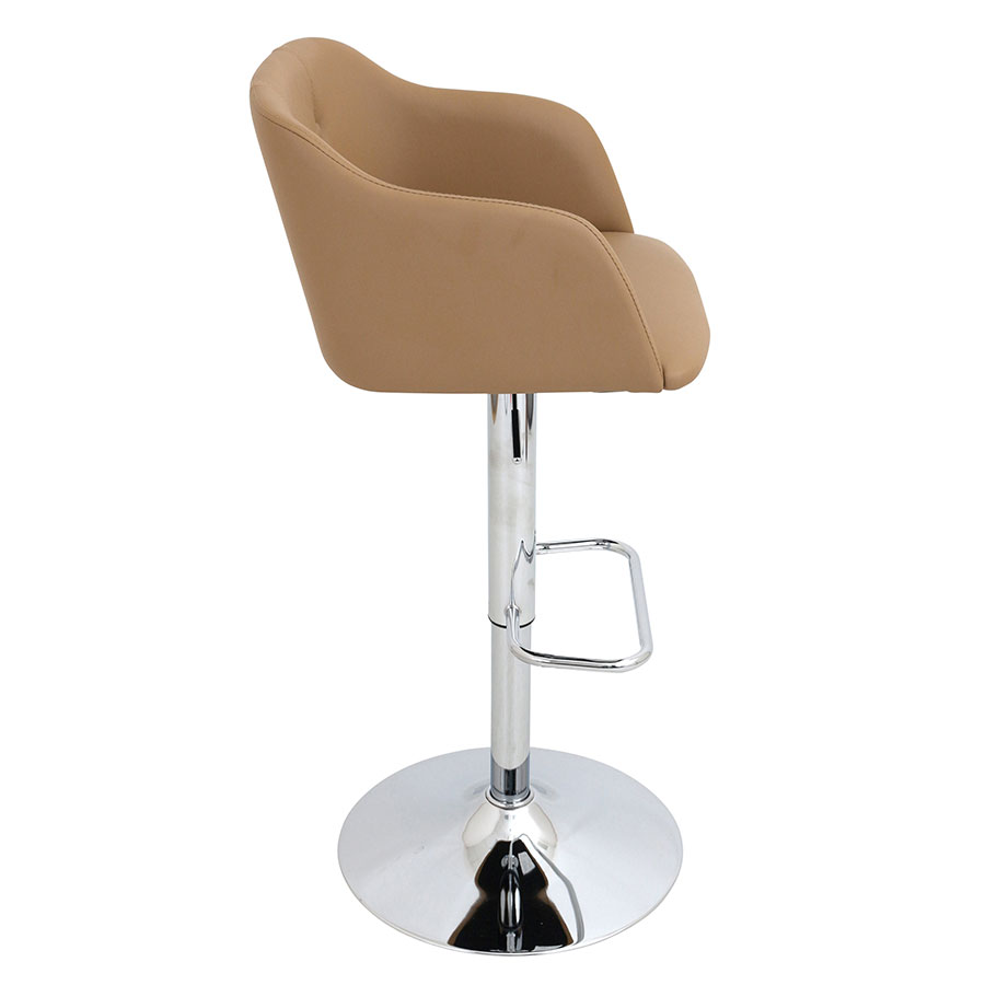 Callum Camel + Chrome Modern Adjustable Stool