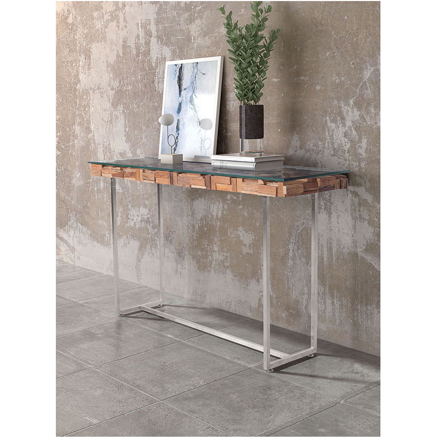 Calogera Brsuhed Steel Base Modern Console Table