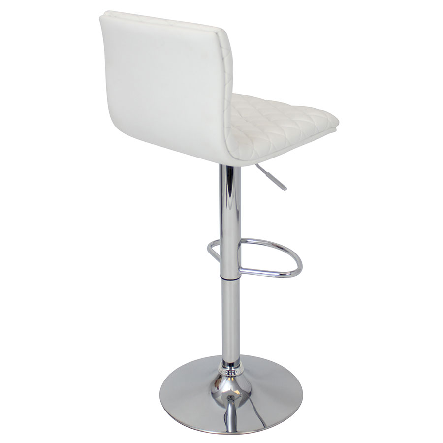 Camella White + Chrome Contemporary Adjustable Stool