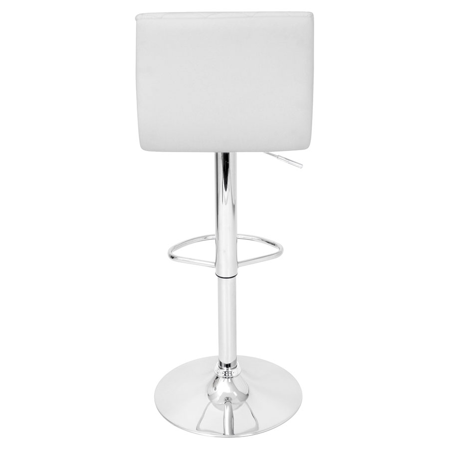 Camella White Quilted Leatherette Modern Adjustable Stool