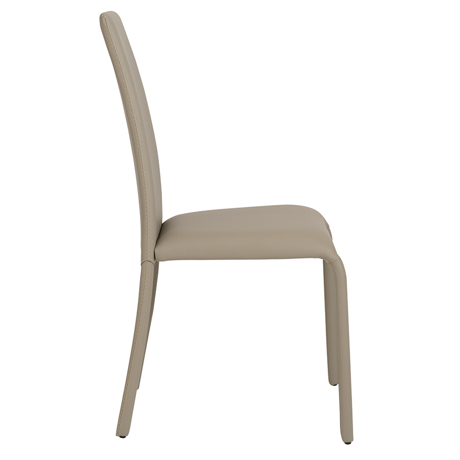 Camille Taupe Leatherette Modern Dining Chair