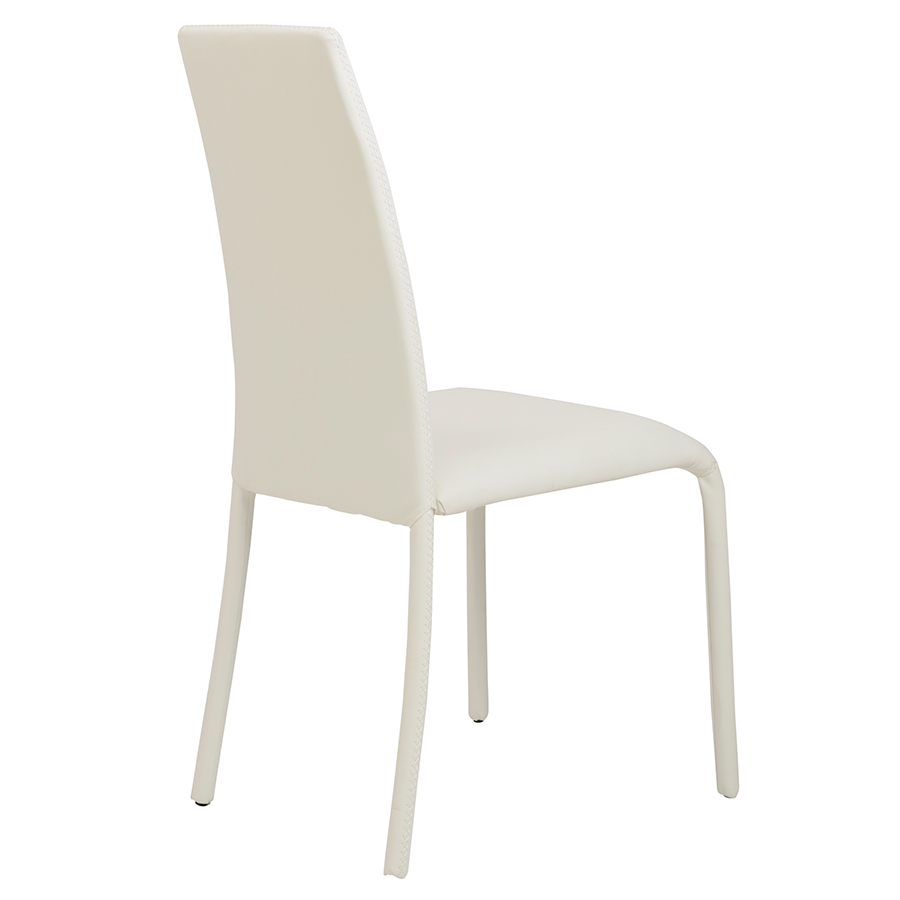 Camille White Leatherette Contemporary Dining Chair