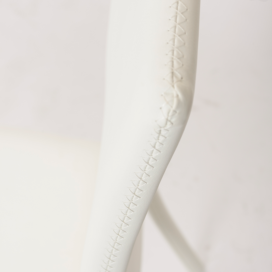 Camille White Leatherette Modern Side Chair Detail