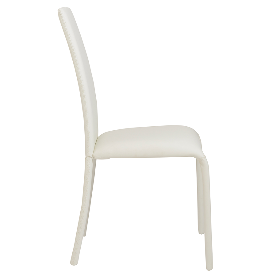 Camille White Leatherette Modern Dining Chair