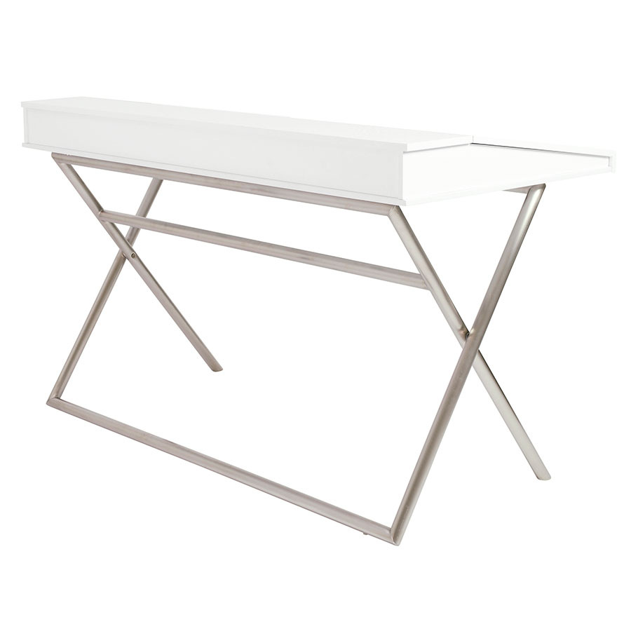 Canton Modern White & Stainless Steel Desk - Back View