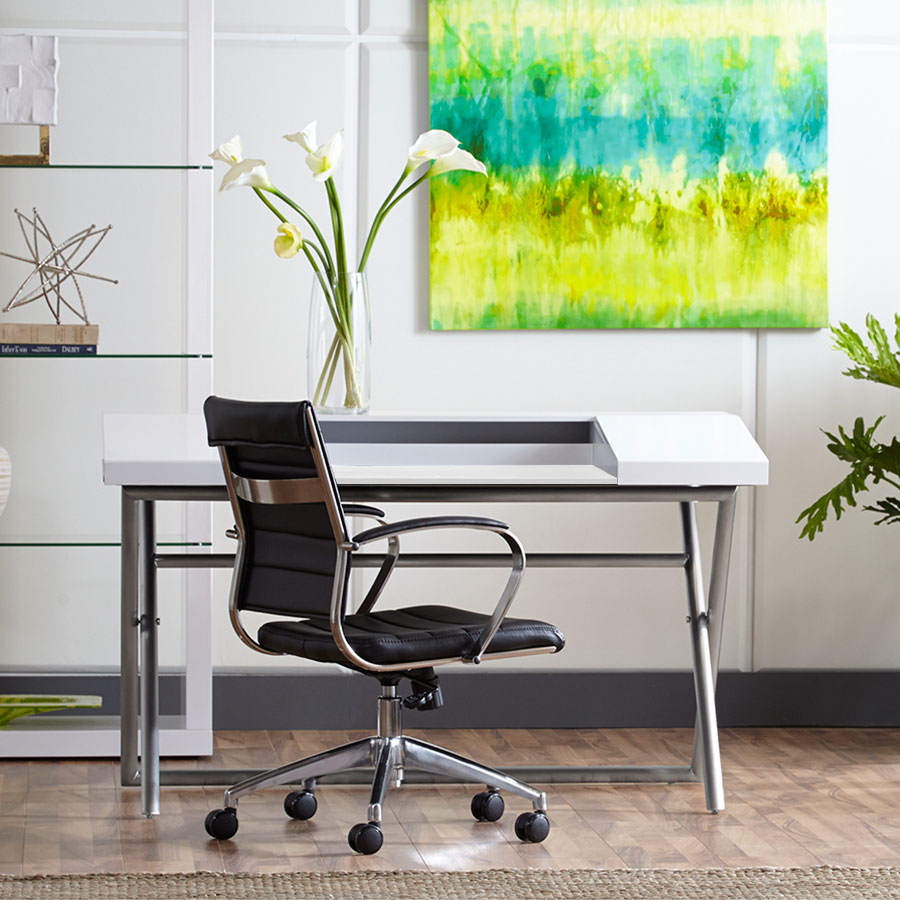 Canton Contmeporary White & Stainless Steel Desk
