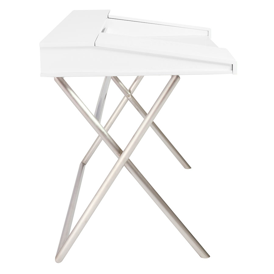 Canton Modern White & Stainless Steel Desk - Side View