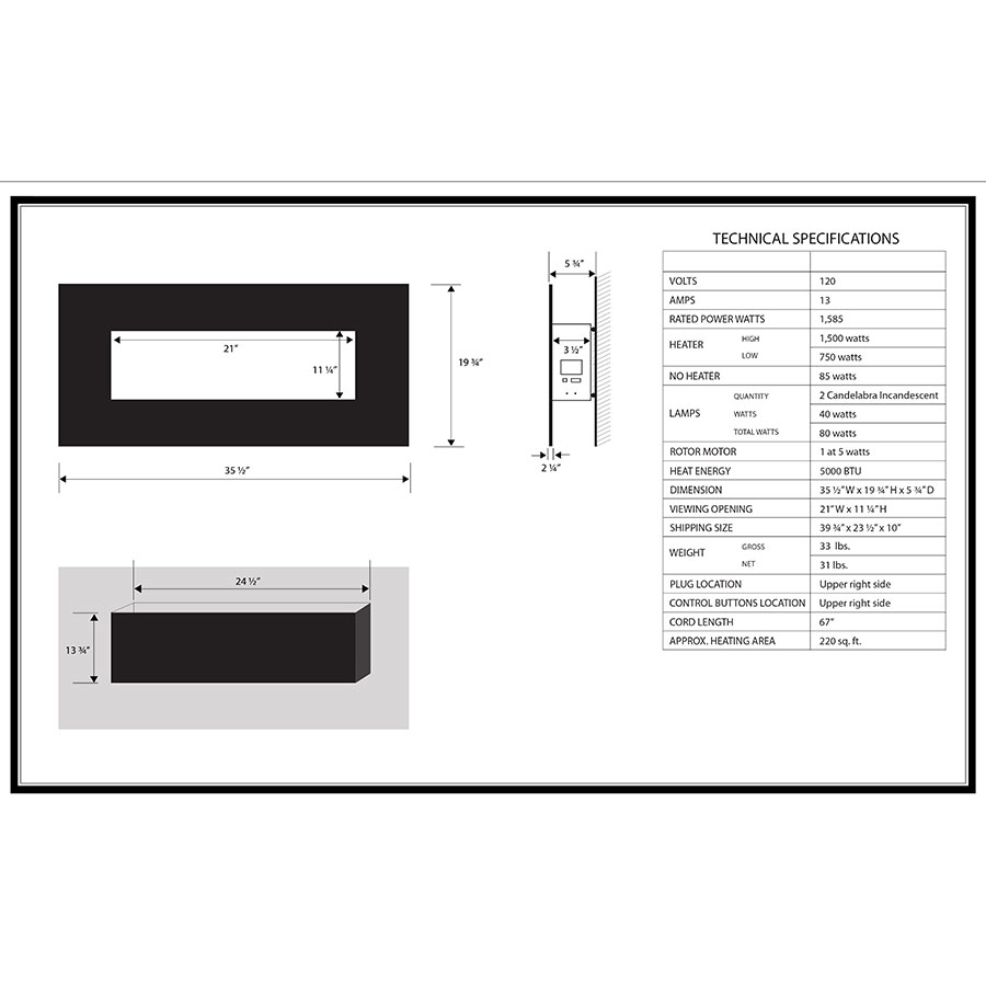 Carbonite Modern Wall Mount Fireplace Specs