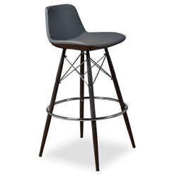 Cardiff Modern Classic Bar Stool in Gray Leatherette
