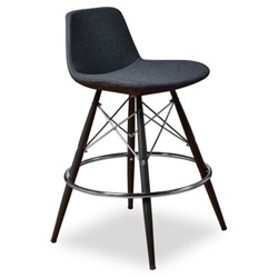 Cardiff Modern Classic Counter Stool in Gray Wool