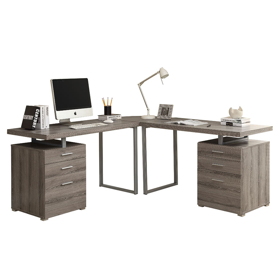 Carey Dark Taupe Modern L-Desk