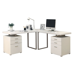 Carey White Contemporary L-Desk