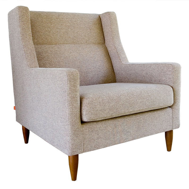 Carmichael Contemporary Lounge Chair in Urban Tweed Potash