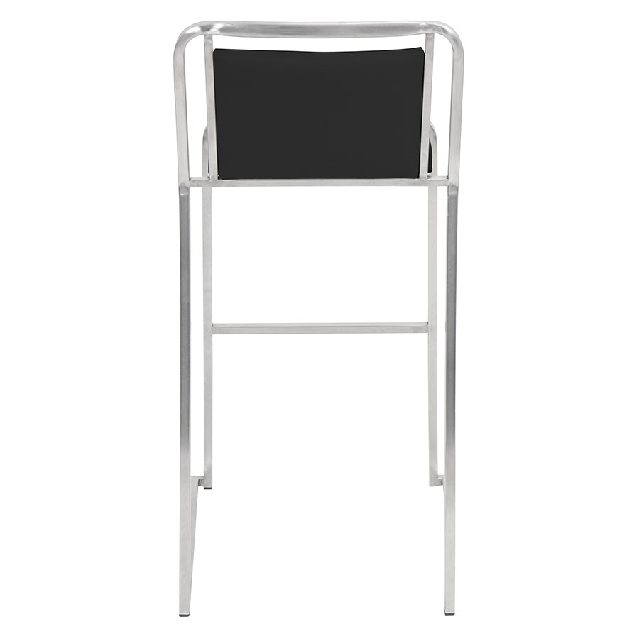 Carrie Black Leatherette + Stainless Steel Modern Bar Stool