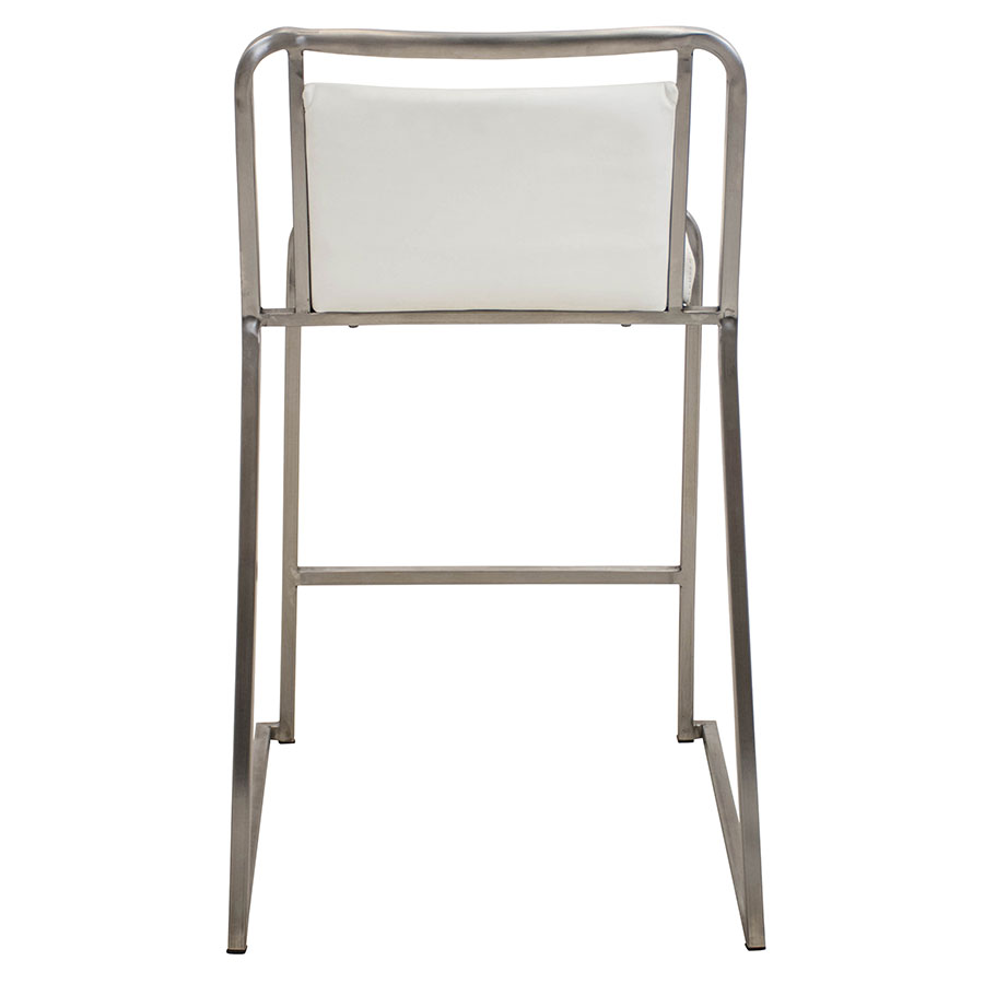 Carrie White + Steel Stacking Contemporary Counter Stool