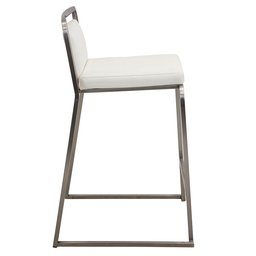 Carrie White + Steel Contemporary Counter Stool