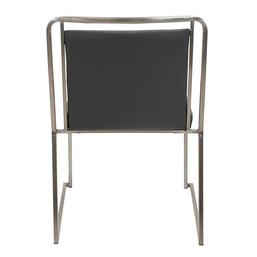 Carrie Gray Leatherette + Stainless Steel Contemporary Side Chair