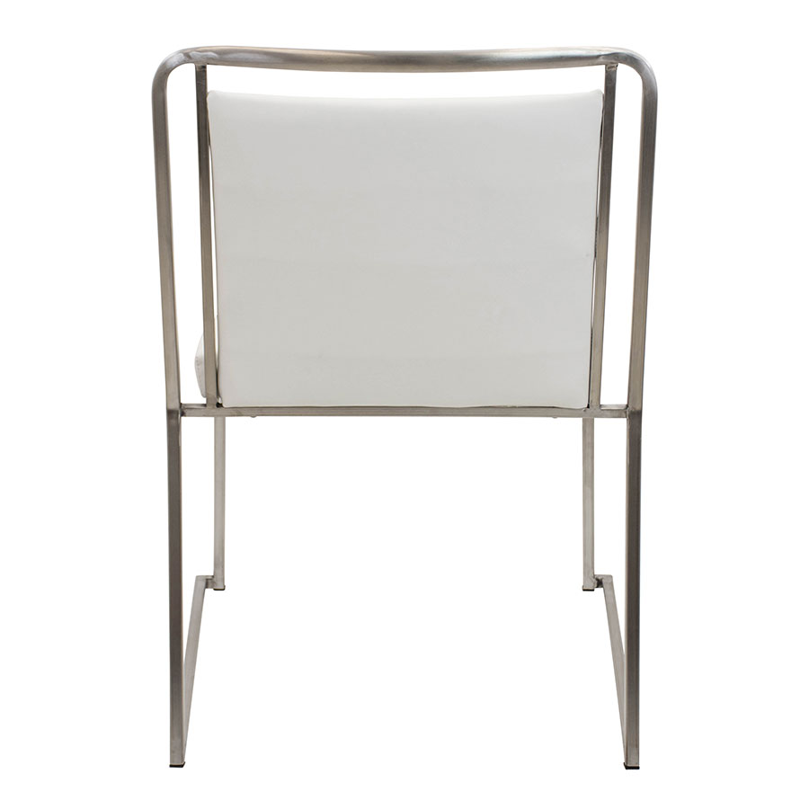 Carrie White Leatherette + Stainless Steel Contemporary Side Chair