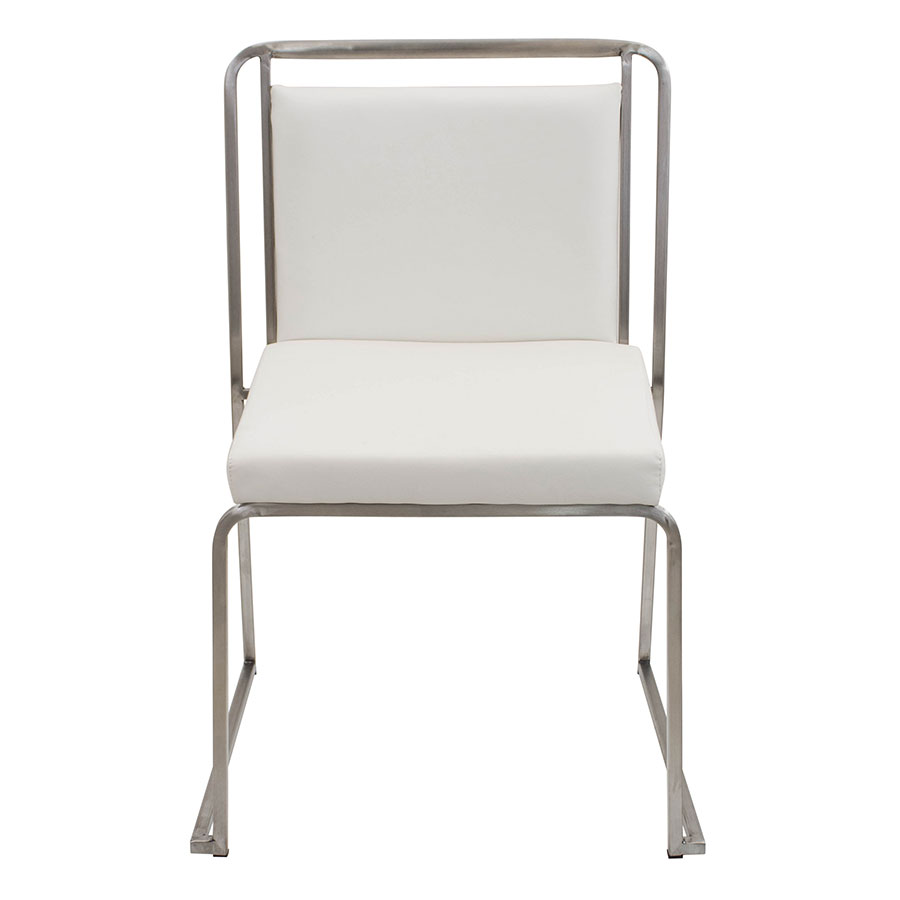 Carrie White + Steel Modern Side Chair