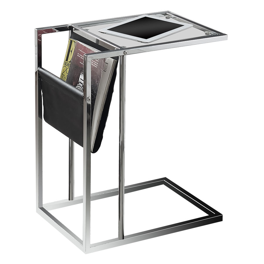 Casey Modern Black Accent Table + Magazine Rack
