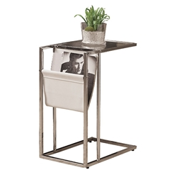 Casey Modern White Accent Table + Magazine Rack