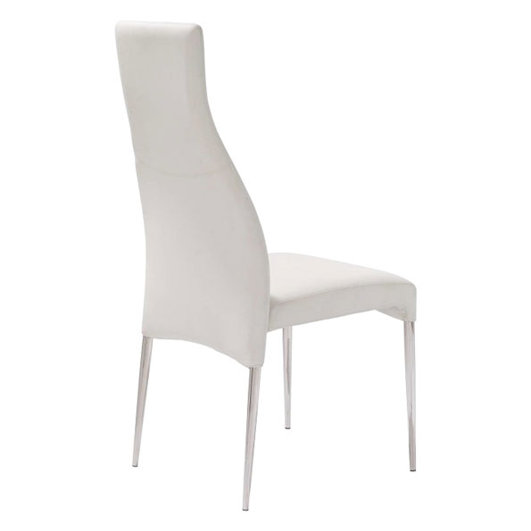 Cato Contemporary White Dining Chair Back