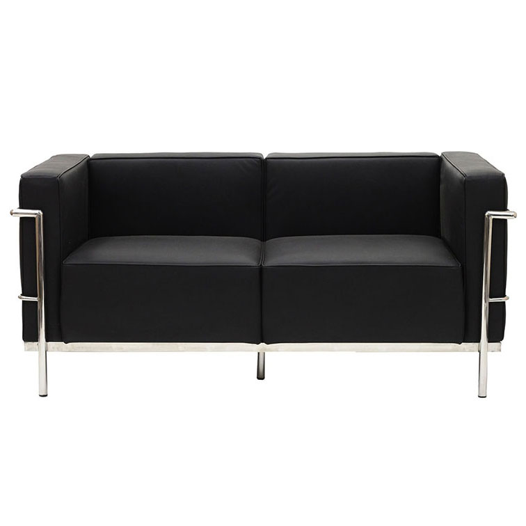 Chambord Black Leather Mid-Century Modern Loveseat