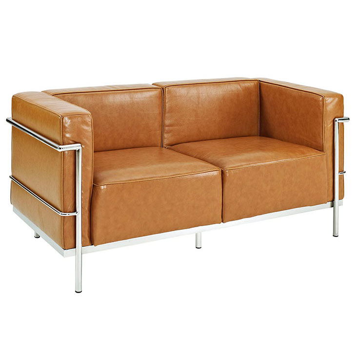 Chambord Tan Leather Mid-Century Modern Loveseat
