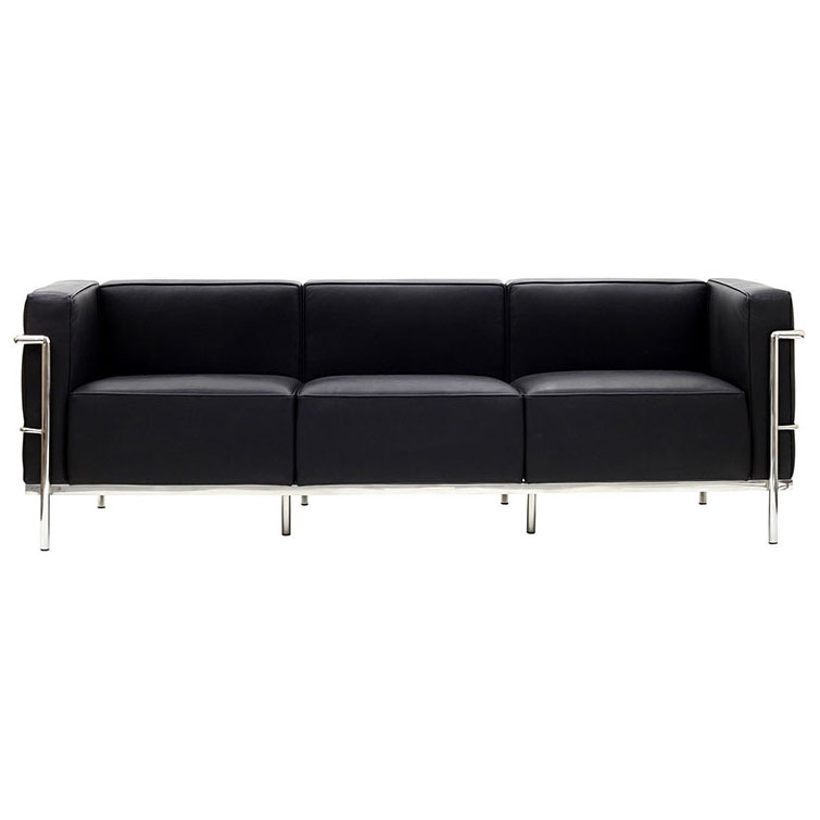 Chambord Black Leather Mid-Century Modern Sofa