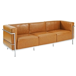 Chambord Tan Leather Mid-Century Modern Sofa