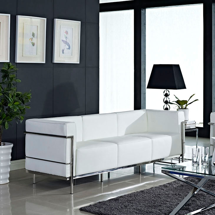 Chambord Mid-Century Modern White Leather Sofa