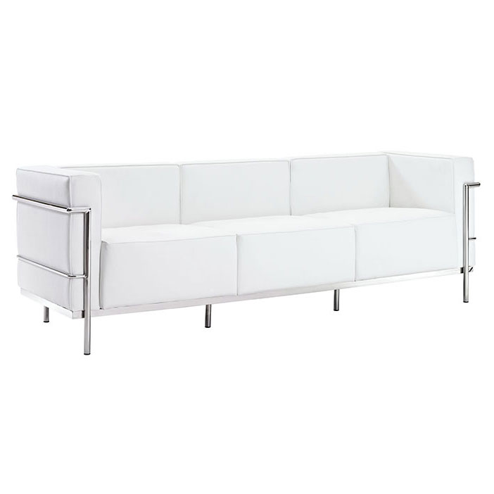 Chambord White Leather Mid-Century Modern Sofa