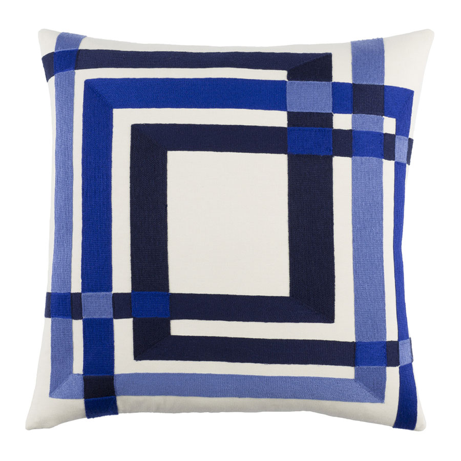 "Chandler 22"" Blue Modern Pillow"