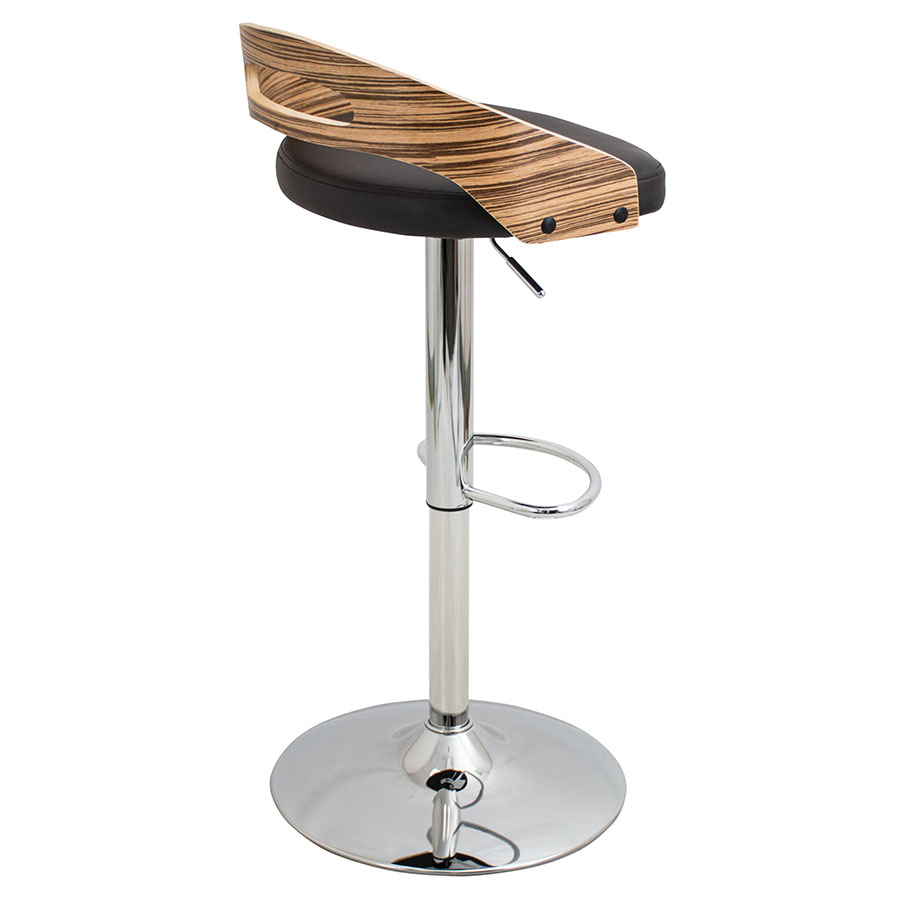 Charleen Brown + Chrome Adjustable Contemporary Stool