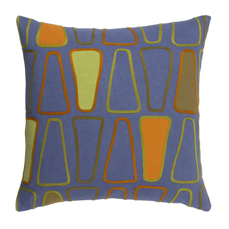 "Charles 20"" Blue + Orange Modern Pillow"