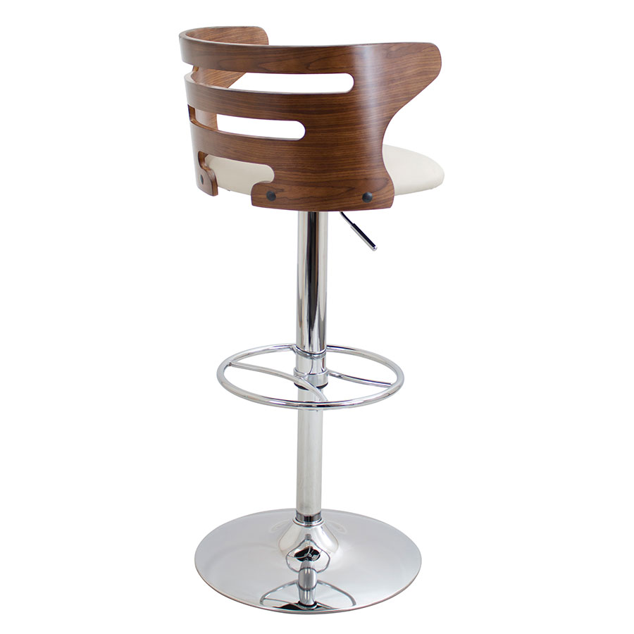 Christopher Cream + Walnut Adjustable Contemporary Stool