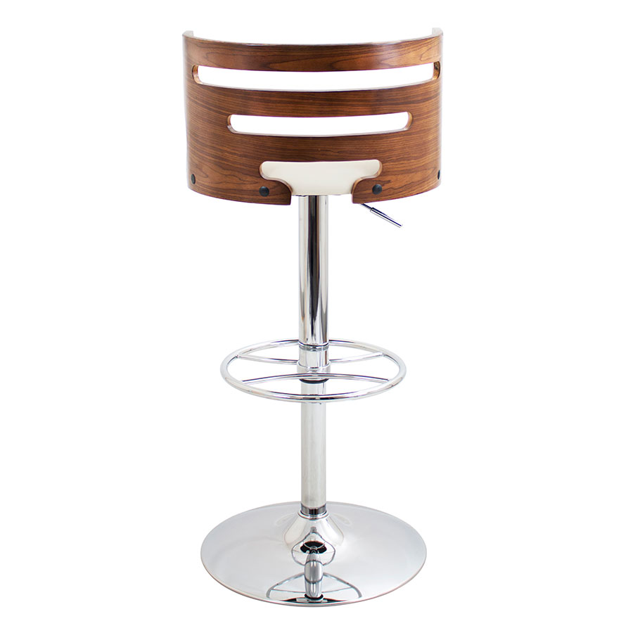 Christopher Cream + Walnut + Chrome Modern Adjustable Stool