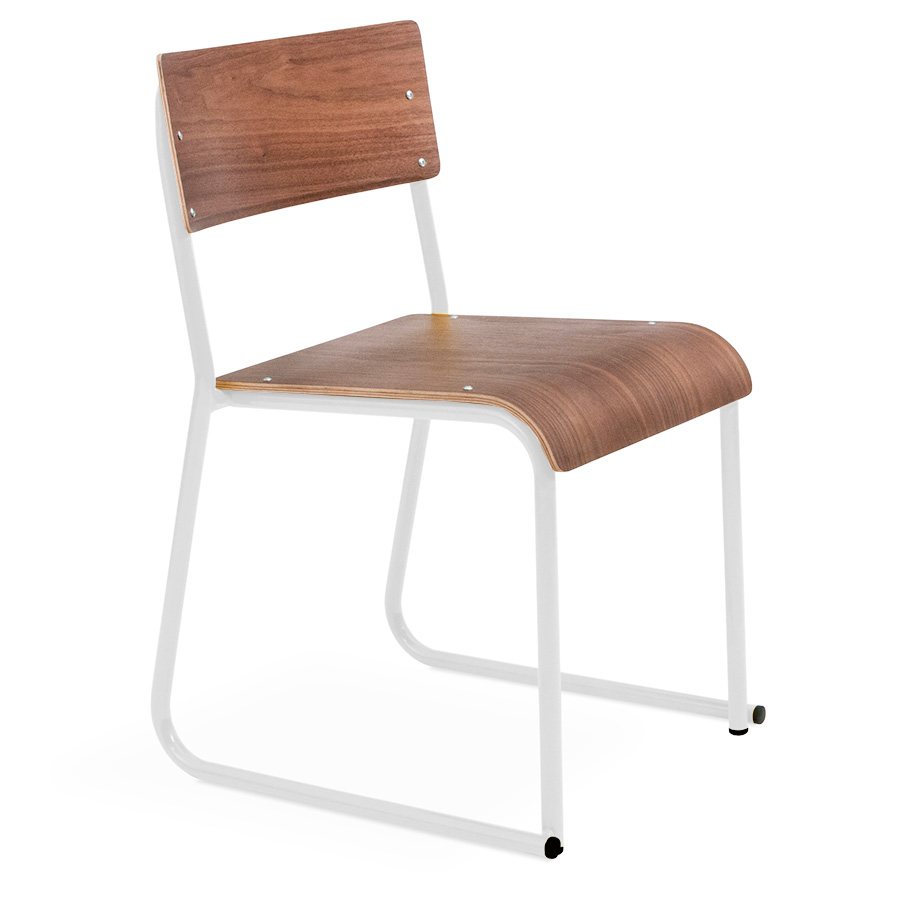 Gus Modern Church Dining Chair - Walnut / White